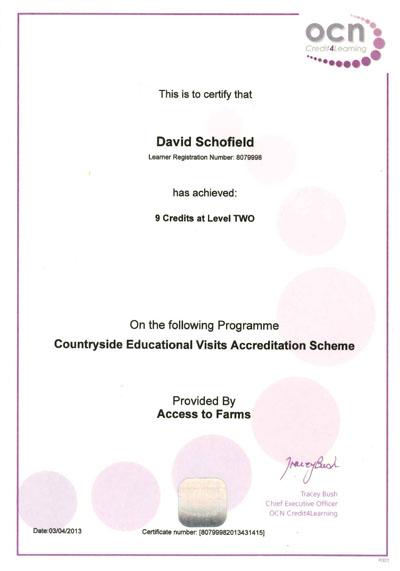 OCN Certificate